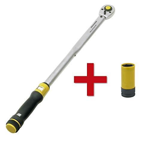 Proxxon MicroClick Drehmomentschlüssel MC 200 + Radmutter Steckschlüsseleinsatz 1/2 Zoll (12,5 mm) Aufnahme | Größe 21 mm | Länge 85 mm Schraubenschlüssel 40-200 Nm