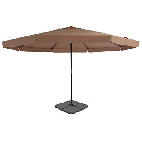 Festnight- Sonnenschirm mit Schirmständer und Kurbel Ampelschirm Sonnenschirm Marktschirm Gartenschirm Terrassenschirm Sonnenschutz Taupe Aluminium & Stahl