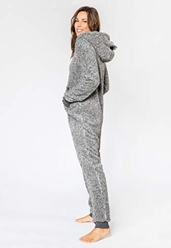 Eight2Nine Damen Jumpsuit aus kuscheligem Teddy Fleece | Overall | Ganzkörperanzug mit Ohren Dark-Grey L/XL - 6