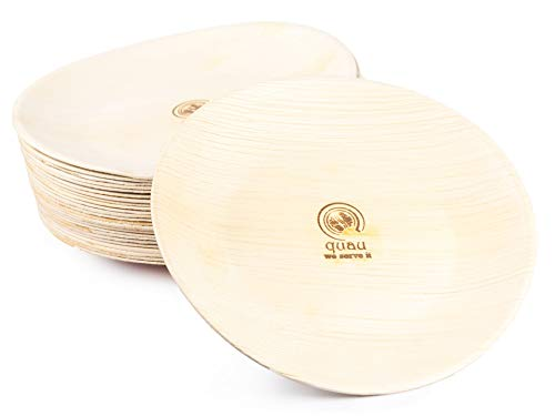 quau 25 Einwegteller aus Palmblatt, rund, Ø23cm, kompostierbar, biologisch abbaubar, stilvoll, Palmblattteller, Palmteller, Partygeschirr, Wegwerfgeschirr, Einmalgeschirr