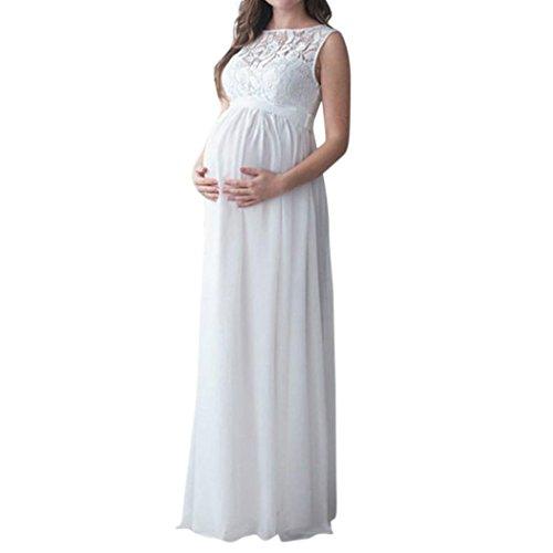 MCYs Damen Schwanger Maternity Jerseykleid Schwangerschafts Kleid Lange Lace Mutterschaft Fotografie Requisiten Kleidung Maxikleid Spitzenkleid ChiffonTank Ärmellose Rundhals (L, Weiß)
