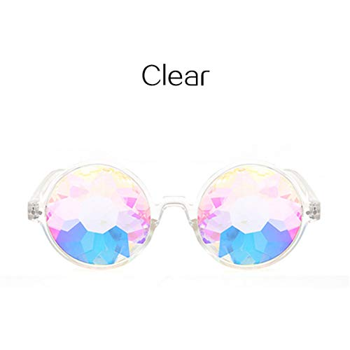 DYFDHA Sonnenbrillen Rave Men Round Kaleidoscope Sunglasses Women Party Psychedelic Prism Diffracted Lens EDM Sunglasses Female clear