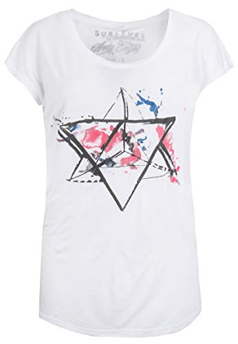 Sublevel Damen T-Shirt mit Watercolour Aquarell Print White XS