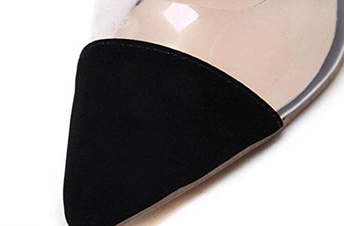 Beauqueen Transparent Haut Anke Straps En forme d'amande Toe Stiletto High Heel Buckle Limited Edition Shoes EU Taille 35-40 Black