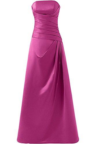 Gorgeous Bride Klassisch TraegerLos Etui Satin Lang Ballkleider Festkleider Abendkleider Fuchsia