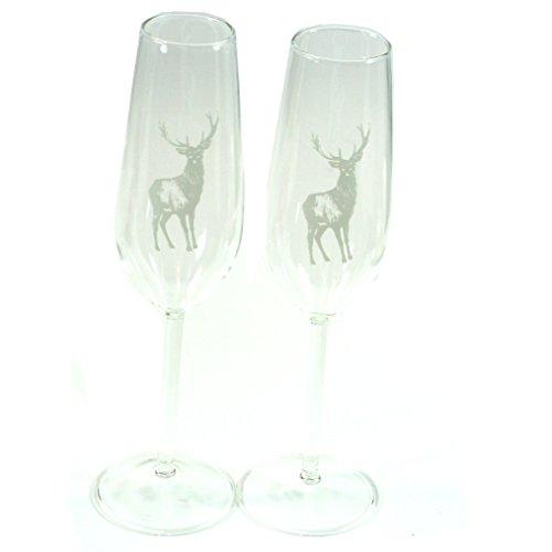 Superbe Paire de personnalisé Highland Cerf Flûte à champagne en verre – Ajoutez votre propre Message
