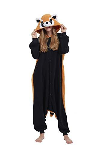 Casa Adult Kigurumi - Erwachsene Unisex Cosplay Jumpsuit Tier Onesie Tieroutfit Schlafanzug mit Kapuze 3D Cartoon Fasching Overall Pyjamas Nachtwäsche Waschbär