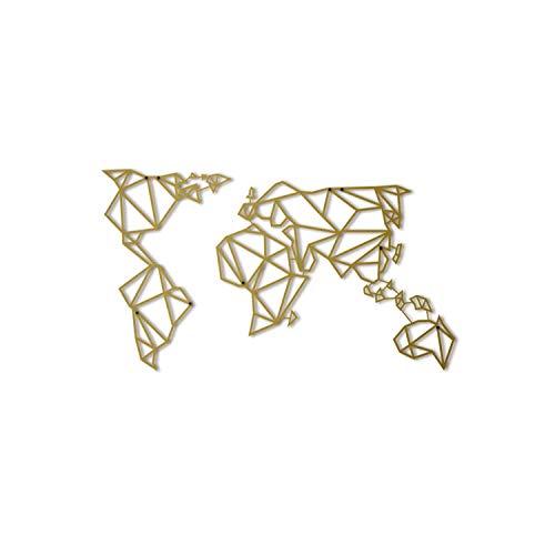 Hoagard Metal World Map Gold XL - Hoagard Weltkarte aus Metall Gold | 80cm x 140cm | Geometrische Metallwandkunst, Wanddekoration (Wand-dekor-metal-familie)
