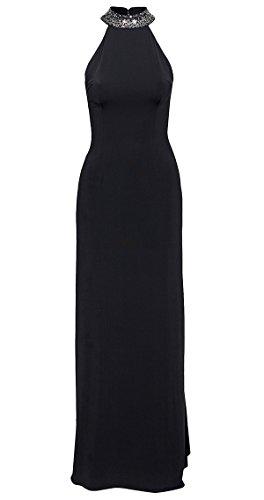 Abito lungo cerimonia donna elegante senza maniche schiena seminuda sexy vestito Nero
