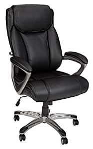 AmazonBasics Big & Tall Executive Office Desk Chair - Adjustable with Armrest, 350-Pound Capacity - Black with Pewter Finish