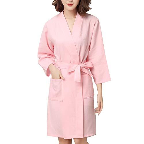 HUANGFAKS Frauen Plaid Wrap Wrap Robe Kimono Bademantel Gürtel Bademantel Pyjama L-XL (Color : Pink, Size : L)