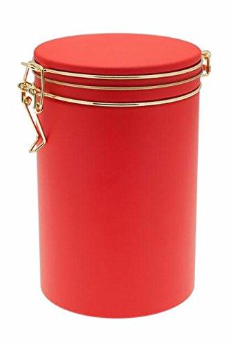 Hochwertige Runde Kaffeedose aus Metall / Farbe Rot
