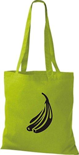 ShirtInStyle Stoffbeutel Baumwolltasche Dein Lieblings Obst und Gemüse Banane Farbe Pink limegreen