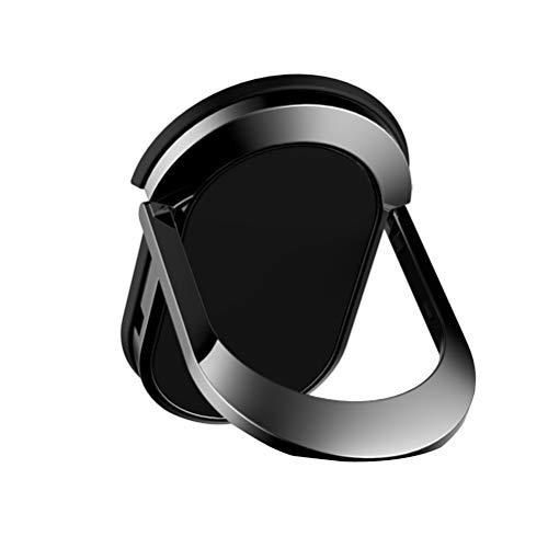 Hemobllo Metall Telefon Ring Inhaber Schnalle Handy Halter Fingerring magnetische Auto Flat Back Support Frame (schwarz) -