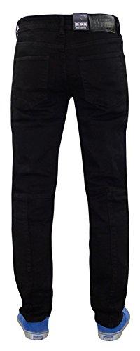 Männer G72 Zip Fliegen Stretch Skinny Slim Fit Biker Denim Jeans Baumwolle Ripped Pants 03-Black
