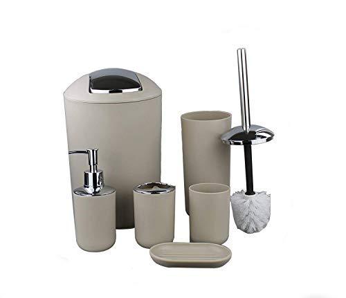 Gmmh set di 6 accessori da bagno, con dispenser per sapone, portasapone e scopino per wc. beige design 2