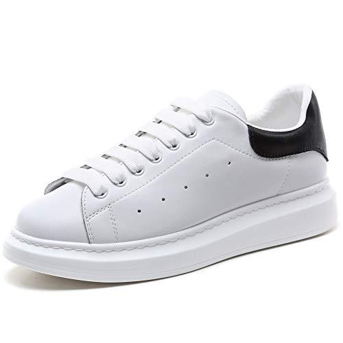 YORWOR Scarpe da Ginnastica Basse Uomo Sneaker Donna Platform Outdoor Suola Comoda con Piattaforma Leggera Unisex Adulto Bianco Nero EU 35.5