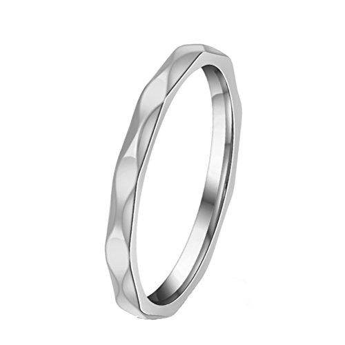 HIJONES Frauen Edelstahl Feinen Rhombus Stahlring Einfachen Stil Silber Größe 54