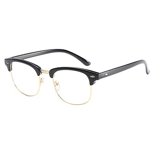 Moberlin Klassische Nerdbrille,Retro Ebenenspiegel Klare Linse Metall Bügel Halb Rahmen Brille...