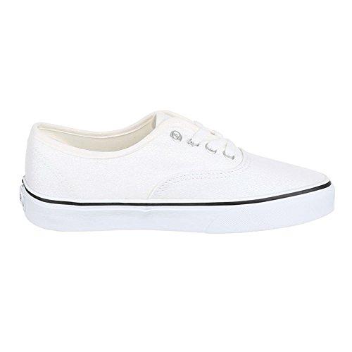 Damen Schuhe, YJ876010-5, FREIZEITSCHUHE SNEAKER SLIPPER HALBSCHUHE Weiß