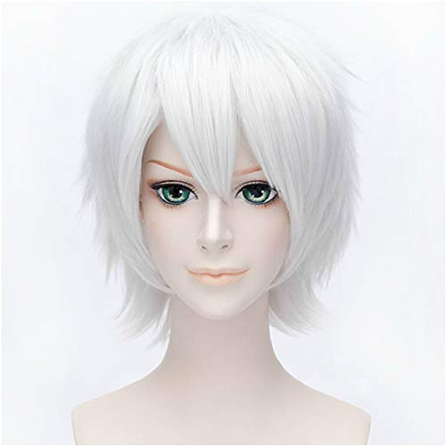 I TRUE ME Anime Short Layered Cosplay Wig Halloween Party Silvery White Hair