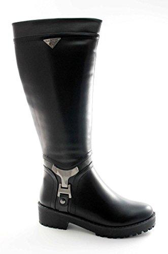 LAURA BIAGIOTTI 1759 black nero stivale donna tacco basso cerniera 38