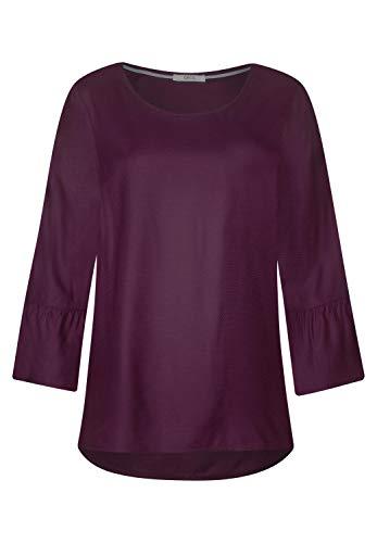 Cecil Damen Einfarbige Bluse mit Volant deep Berry XL