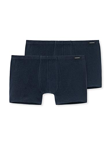 Schiesser Herren Shorts (2er Pack) Boxershorts, Blau (Dunkelblau 803), Large
