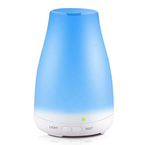 QIHANGCHEPIN Ultraschall-Luftbefeuchter Aromatherapie Öl Diffusor kühlen Nebel mit Farbe LED-Leuchten ätherisches Öl Diffusor wasserlose Auto-Abschaltung (weiß) (Wasser-wicking-filter)