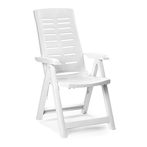 Mojawo Hochlehner - Klappstuhl, Campingsessel für Terrasse, Garten, Balkon und Camping - 5-Fach Verstellbarer Gartenstuhl - Positionsstuhl - Weiß