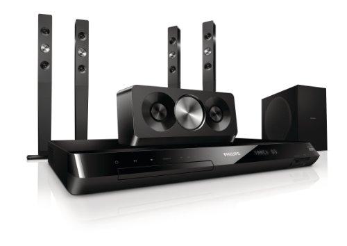 Philips HTS5593/12 5.1 3D Blu-ray Heimkinosystem (HDMI 1.4, Full HD, 1000 W, DivX, iPod/iPhone/MP3 Link, Smart TV) schwarz