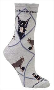 Wheel House Designs Doberman (Gray) Adult Cotton Puppy Dog Socks by WHD