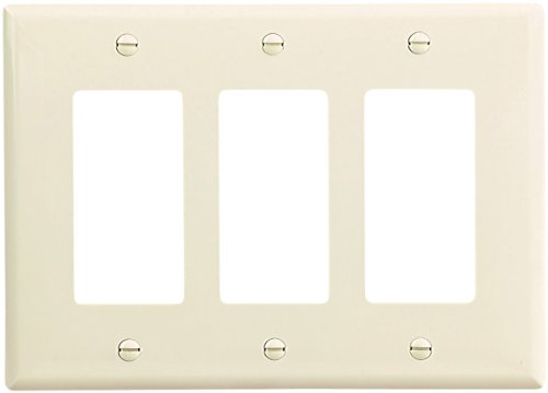 Cooper Wiring Devices PJ263LA-SP-L Polycarbonate 3-Gang Decorator GFCI Mid Size Wall Plate, Light Almond by Cooper Wiring (Wall Plate Light Almond)