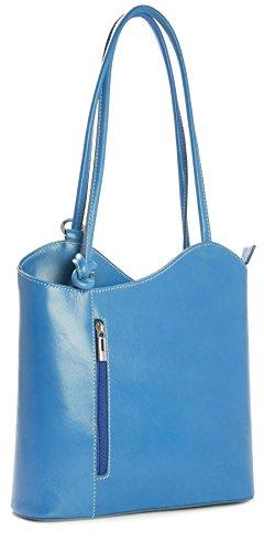 Donne Fatto a mano in pelle italiana borsa a mano, tracolla o zaino. Comprende una borsa di marca deposito protettivo e un fascino 28 x 28 x 8 cm (LxAxP) Blu (Teal)
