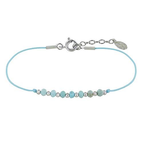 Schmuck Les Poulettes - Armband Link Sieben Larimar Facettiert Perlen und Silber Perlen - Blauer Himmel