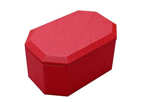 Kreative PU Schmuckschatulle Leder Schmuckschatulle Reise Ohrstecker Doppel Aufbewahrungsbox, Rot