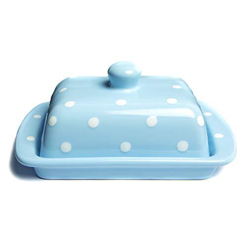 City to Cottage Beurrier bleu ciel à pois blancs en céramique fait et peint à la main