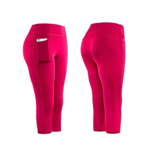 TOPGKD Damen Sport Leggings Yogahose Fitnesshose Leggings Capri-Hose Strecken Hip Raise Yoga Fitness Hose Gym Sporthose Hose Hose Sweathose Yoga Tights mit Taschen (Pink, M)