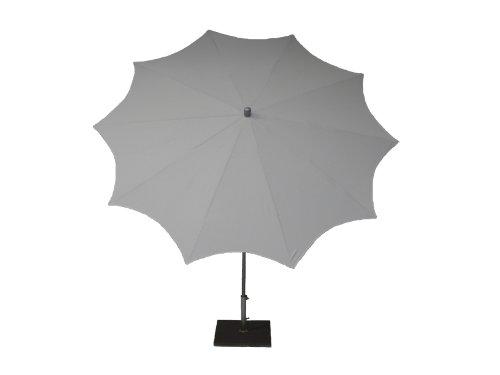 Maffei Art 55 Estrella, Parasol Rond diamètre cm 250, Tissu PolyMa, Monture Acier Noir sablé, Made in Italy. EXCLUSIVITE Couleur Blanc.
