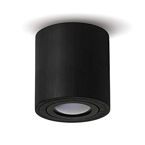 JVS Aufbauleuchte Aufbaustrahler Deckenleuchte Aufputz Led Milano GU10 Fassung 230V rund, alu-schwarz, schwenkbar Deckenleuchte Strahler Deckenlampe Aufbau-lampe CUBE Kronleuchter aus Aluminium