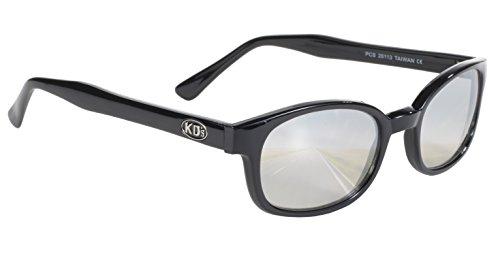 KD-Biker-Sonnenbrille mit transparenten silberfarbenen Spiegelgläsern, Originalprodukt