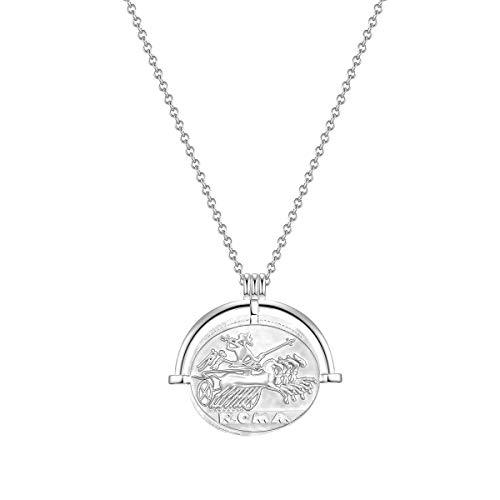 Glanzstücke München Damen-Kette Münze Sterling Silber 925 Gladiator - Münzkette für Frauen römisch