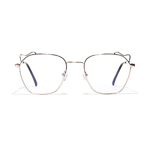 Easy Go Shopping Cat Ear Brillen Unisex Runde Brille Metallrahmen Sommer Retro klare Linse Sonnenbrillen und Flacher Spiegel (Farbe : Rose Gold)