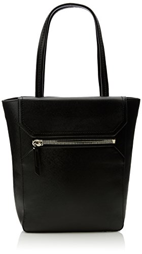 french-connection-womens-super-zip-pu-sage-tote-1-black-saffiano