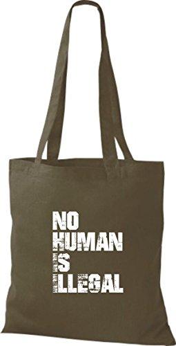 Shirtstown Stoffbeutell no Human is illegal, Flüchtlinge, Bleiberecht viele Farben Olive