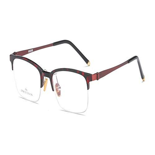 Yangjing-hl Retro Flacher Spiegel Student literarisch quadratischer Glasrahmen Kunststoff Stahlrahmen Brille Bohne Farbe