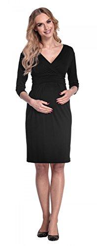 Happy Mama Femme. Robe de maternité plissé. Convient pour l'allaitement. 001p Noir
