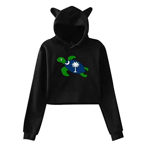 HYJDZKJY Frauen Mädchen Katze Einhorn Pullover Hoodie Sea Turtle South Carolina Flagge Cropped Sweatshirts (Carolina-sweatshirt South Weiß)