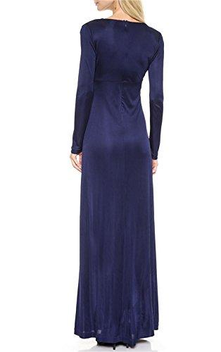 QIYUN.Z Femmes elegantes Plissee Mariage Bal Longue Robe Maxi Longue Douille De Cocktail Bleu fonce