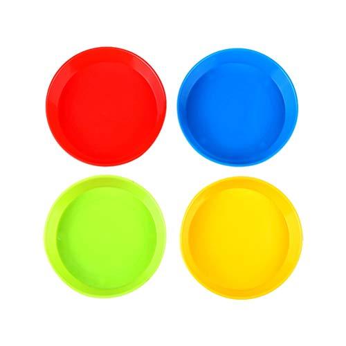 Healifty 4 STÜCKE Kunst Farbe tablett Kunststoff Zeichnung Palette ölgemälde Palette (rot + blau + grün + gelb)
